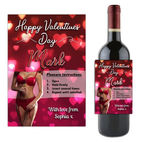 Personalised Sexy Lady Valentines Day  Wine / Champagne Bottle Label Gift for him N183